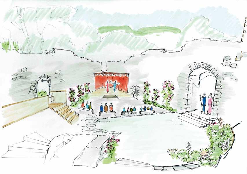 Im Burghof sollte am ehemaligen Platz der Burgkapelle eine fix überdachte Bühne aus Holz aufgebaut werden. Auf dieser können die Künstler ihre Vorstellungen abhalten. Am hinteren Teil sollte ein kleiner Stau- und Technikraum erschaffen werden.