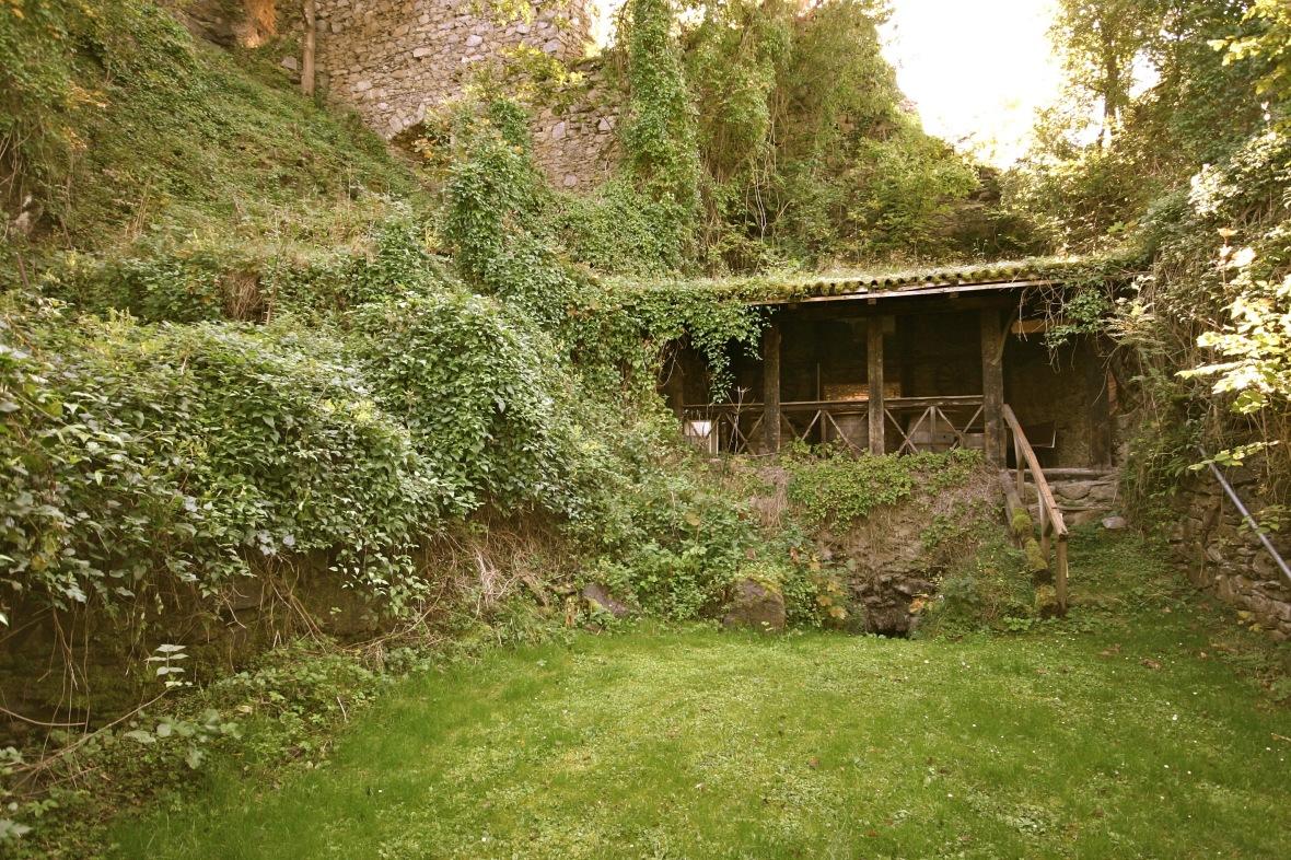 Das Kellergewölbe war vorher über eine betonierte Stufe begehbar. Jedoch war diese bereits sehr verwuchert, der Steinkeller sehr feucht, da die natürliche Belüftung durch die Verschüttung nicht funktioniert hat.